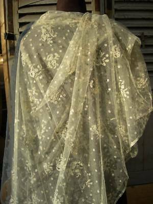 Exquisite handmade Brussels lace applique on finest tulle wedding veil or shawl