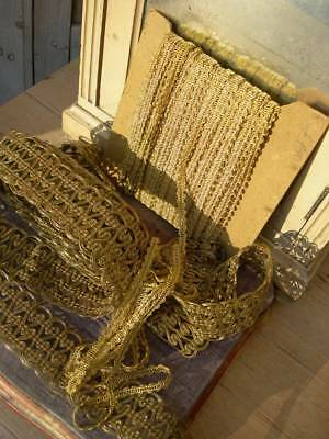2 long lengths antique French unused ecclesiastical gold metallic lace trim