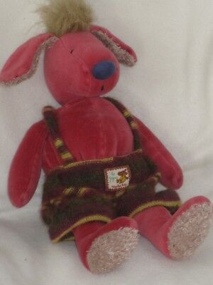 "Moulin Roty Red 13"" Dog Eugene Zazou Soft Toy Plush with jointed rotating head #"