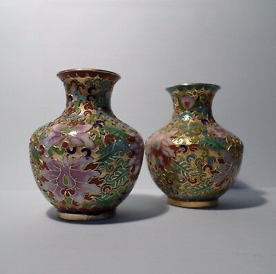 PAIR OF CLOISONNE VASES - Gold & Pink Flowers