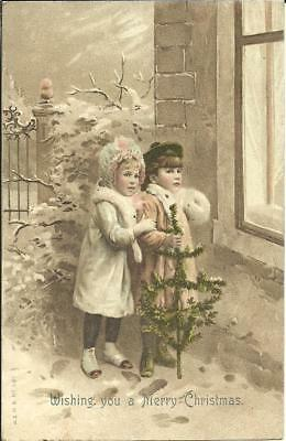 "Greetings Postcard - ""wishing You A Merry Christmas"" (Printed) 1907"