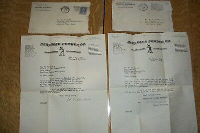 Three 1919  HERCULES POWDER CO Envelopes and Letters