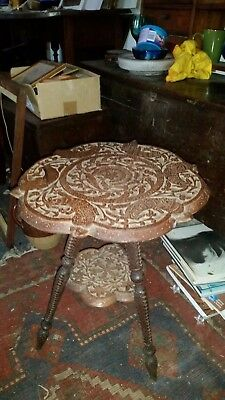 antique carved Indian small / side table ,