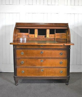 Antique cylinder bureau - writing desk with drawers