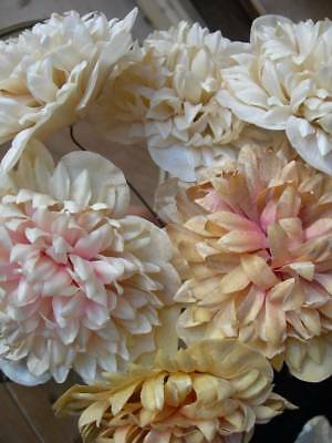 Collection 6 antique French convent flowers - handmade waxed paper soft pinks