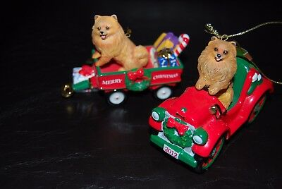 DANBURY MINT POMERANIAN ANNUAL CHRISTMAS ORNAMENT 2011 and 2012 set of 2. Rare