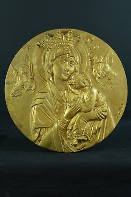 Religious gilded bronze Medallion/Plaque Our Lady of Perpetual help by Tschudin