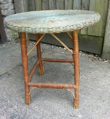 ANTIQUE Rattan WICKER TABLE Colonial 20s Green Round top - no woodworm ! 1 of 2