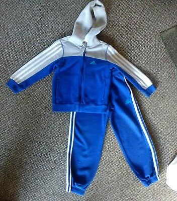 boys adidas tracksuit age 5-6 years 5 6 grey blue full hoody joggers designer