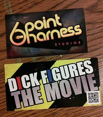 Set of Dick Figures Movie and 6 Point Harness stickers. 1 each of 2 designs.