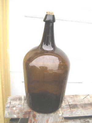 amber Glass Demijohn Bottle Car Boy 17-  tall  71/2 wide at bass pontil
