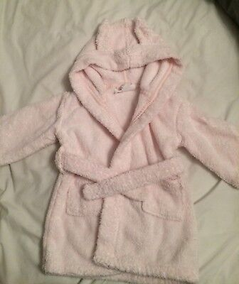 Baby Girls The little white Company Towelling Dressing Gown Age 6-12 Months