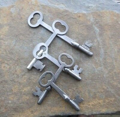 Five Flat Shaft  Antique Antique Mortise Lock Skeleton Keys   Antique Door Keys