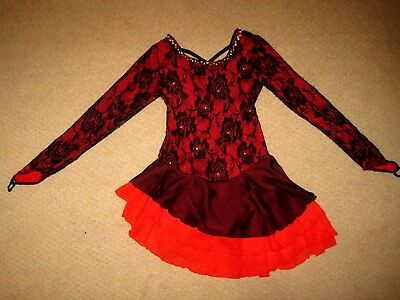 ICE FAIRY Dance ICE SKATING COSTUME Leotard RED Black Lace SPARKLY DRESS sz 10 e