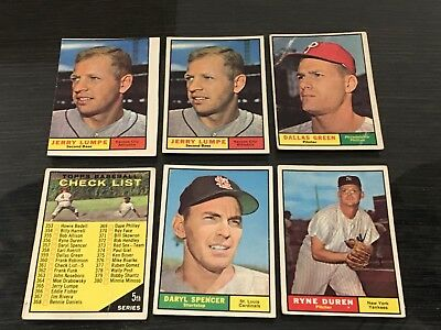 1961 Topps Baseball Cards Lot Of 10 Cards