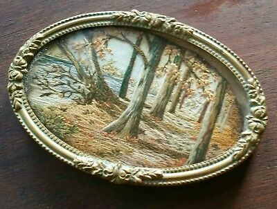 "Exquisite 19thC French Silk Embroidered Picture in Original Frame 3"" x 2 "" Oval"
