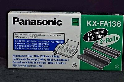 Genuine Panasonic Ink Film KX-FA136 FAX Replacement Cartridge 2-Rolls BRAND NEW