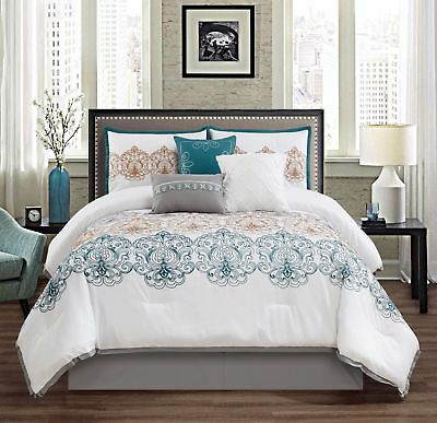 Chezmoi Collection 7pc Teal/Gold/Gray/White Embroidered Medallion Comforter Set