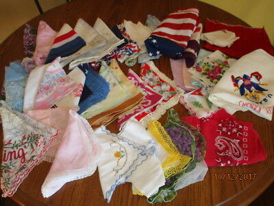 Vintage Lot 34 Handkerchiefs And Several Scarves From Estate