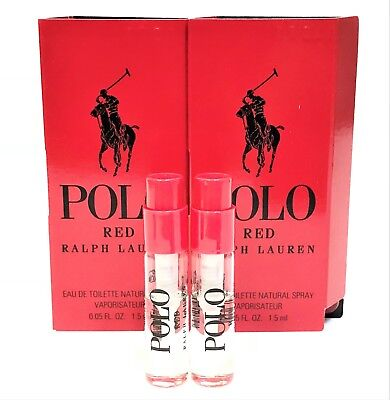 RALPH LAUREN POLO RED EDT 1.5ml .05oz COLOGNE SPRAY MINI VIALS x2