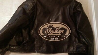 Indian Motorcycle synthetic leather tan/black oval back patch.12 inches.NEW