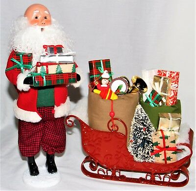Byers Choice Bald Santa Caroler & Sleigh Filled with Packages - New 2017