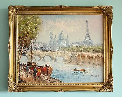 Vintage 'paris' Original Oil On Canvas Gilt Framed Painting - Signed By Burnett
