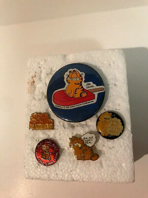 Lot Of 5 Vintage Garfield The Cat Lapel Pins Pin Back Button