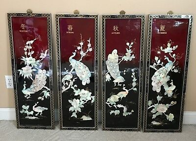 Vintage 4 Oriental Mother of Pearl Black Laquer Wall Art Floral Birds Japanese