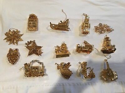 Danbury Mint Gold Plated Christmas Ornaments in Box - Set of  14,  1998