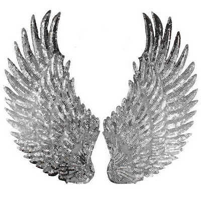 Iron On Sew On Sequin Angel Wings Fairy Wings Large 33cm AUS Stock Free Shipping