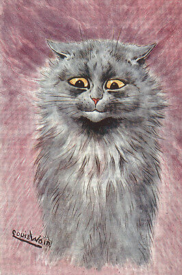 Louis Wain Early 1900's Blue Russian Kitten Cat - LARGE New Blank Note Cards