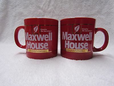 Two Vintage Maxwell House Coffee Red Glazed Fpc Pottery England Coffee Mugs Cups