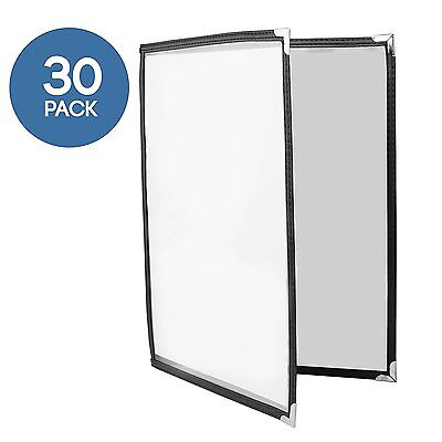 30 Pack of Menu Covers - Double Page, 4 View 8.5 x 11  Restaurant Menu Covers