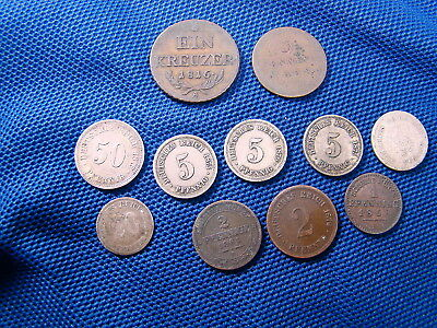 Lot Of German Coins Some Silver From 1816-1876 1,2,3 5,20, 50 Pfennig 11 Coins