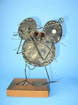 Brutalist Metal Mouse Figure Table Art Rustic Mid Century Modern Vtg  C Jere Era