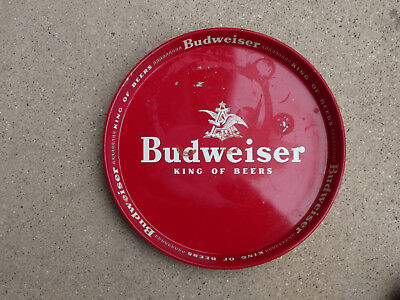 """Vintage Red & White 13"""" Budweiser Beer Tray"""