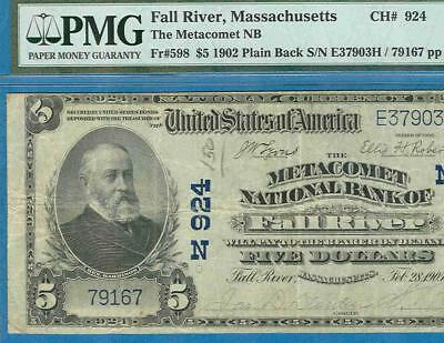 $5.00 1902 P.b.the Metacomet  National Bank Of Fall River Mass. Charter  #924