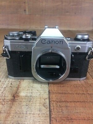 Canon AE-1 Chrome 35mm Camera Body For Parts Not Working
