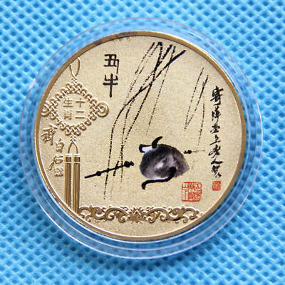 Qi Baishi Chinese  Lunar New Year 24K gold - plated zodiac - Year of the Cow