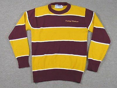 Vtg Farleigh Dickinson Student Red Yellow Sweater Made in USA Unisex New York