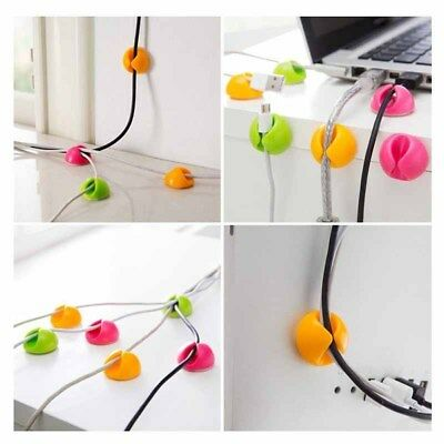10PCS Cable Clips Adhesive Cord Wire Organizer Desktop Holder Clamp Random Color