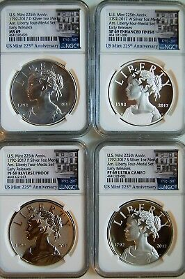 2017 American Liberty 225th Anniversary Silver four 4-Medal Set NGC 69