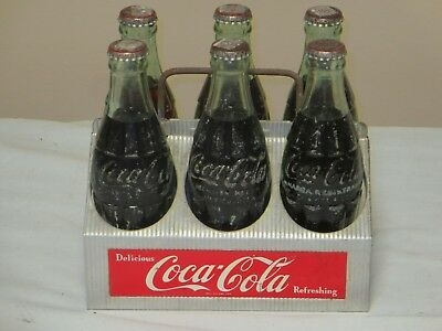 Coca Cola Aluminum 6 Pack Carrier + 6 Full Mexican 1950's Bottles