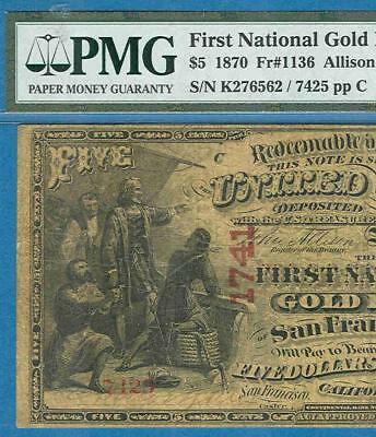 $5.00 1870 First National Gold Bank Of San Francisco Pmg Vf20Net Charter  #1741