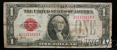 1928 United States Note $1 Funny Back Red Seal Circulated