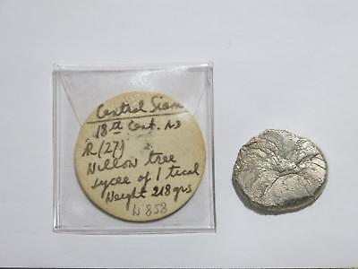Central Siam 18Th Century Willow Tree Sycee 1 Tical ? 218 Grains 14G Silver Coin