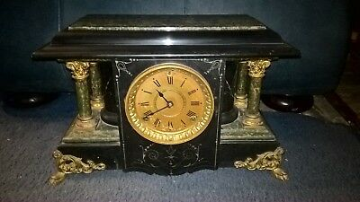 1880 Seth Thomas Adamantine Shelf Mantel Clock Green marble with Pillars Antique
