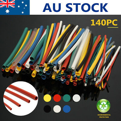 140Pcs Assorted 5 Sizes Car Electrical Cable Heat Shrink Tube Tubing Wrap Sleeve