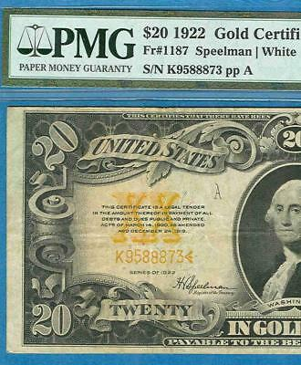 $20. Fr. 1187 1922 Gold Seal Gold Certificate Pmg Certified Very Fine 30